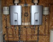 Two tankless water heaters installed in parallel